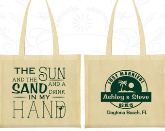 The Sun and the Sand and a Drink in my Hand, Promotional Canvas Bags, Beach Wedding Bags, Tropical Wedding, Custom Tote Bags (507)