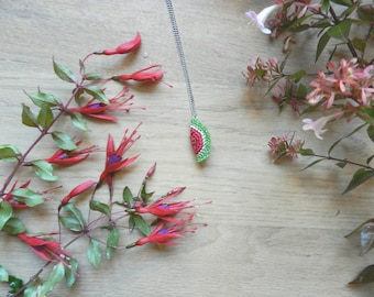 Necklace long chain pendant watermelon crochet, handmade, Christmas gift Christmas gift