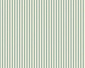 Aqua Ticking Stripe Fabric Maywood Studio, vintage style fabric, vintage chic, aqua stripes, aqua ticking, shabby chic, woodland, country