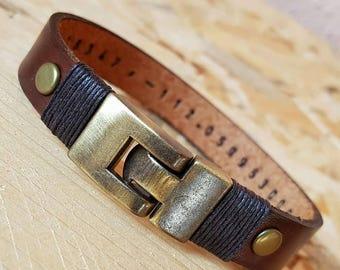 Personalized Gift for Man Graduation Gift for Men Leather Bracelet Leather Man Bracelet Hidden Message Bracelet