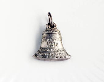 Vintage Bell Sliding Medal from Spain, Images on both sides on the inside, Saint Lucy and Jesus