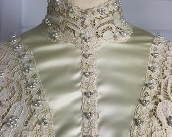 1970s Vintage Wedding Dress in Edwardian Style Design / Vintage 1970s Wedding Dress / Boho Hippie Bridal