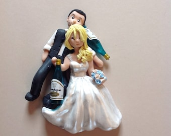 Wedding cake topper - Drunk bride and groom - Unique hand crafted figure - Novelty cake topper -  suitable for mounting in box frame