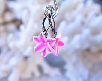 Stargazer Lily Earrings. Pink Lily Earrings. Stargazer Lily Jewelry.