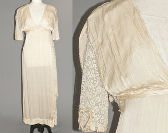 Edwardian Wedding Dress, Antique 1910s Titanic Dress, Edwardian Silk & Lace Dress, Downton Abbey, Heart on My Sleeve