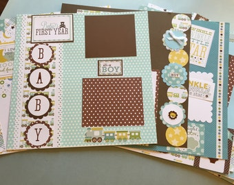 20 Baby boy premade first year scrapbook pages 12 by 12