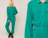Corduroy Jumpsuit Green 80s High Waisted One Piece Zip Up Pant Pantsuit Vintage Long Sleeve Romper Pants Tapered 1980s Retro Medium Large