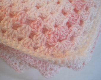 "Crochet Baby blanket, 34"" x 34"", pastel colors, pink and white"