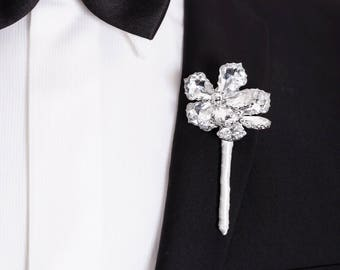 Prom Boutonniere, Wedding Boutonniere - Two Flower Ranier Boutonniere - Buttonhole, Silver Boutonniere, Crystal Flowers