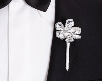 Bal boutonnière, boutonnière de mariage de boutonnière - deux Anne boutonnière de fleurs -, boutonnière, fleurs en cristal en argent