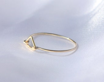 Triangle ring  -  Gold triangle ring - 14k gold filled wire with tiny gold triangle, mini geometric ring, gold filled ring, triangle Jewelry