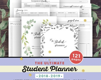 Student Planner 2018-2019, Academic Planner Printable, College Student Planner, Back to School Agenda, High school, Project, A5, Half Size