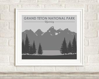 Grand Teton National Park Art Print ~ Grand Teton Poster ~ National Park Posters ~ Wyoming Art Print ~ Many Sizes & Colors