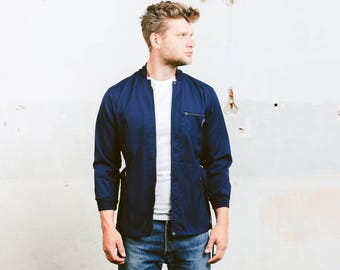 Lightweight Jacket . 70 Spring Jacket Mens Unisex Blue Parka Coat Zip Up Jacket Boyfriend Gift Hipster Jacket Outerwear . size Extra Small