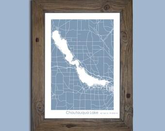 Chautauqua Lake Map, Custom Chautauqua Lake map, Cabin Decor