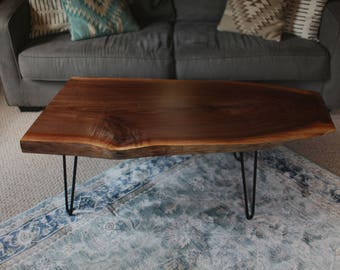Sold! Mid century modern walnut coffee table with hairpin legs.