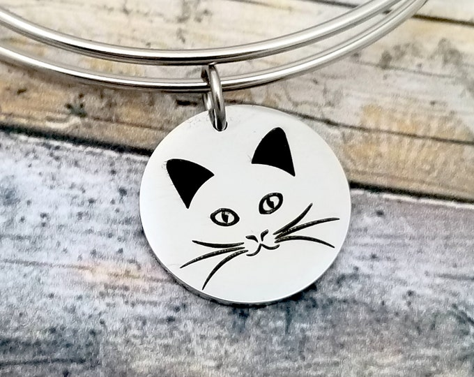 Cat Face Customizable Expandable Bangle Charm Bracelet, choose your charms, create your style, design your bracelet,