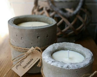 Large concrete scented soy candle