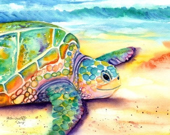 sea turtle art, sea turtle, turtle, sea turtle painting, hawaii art, Hawaiian art, Hawaiian honu,  hawaii kauai maui oahu, turtles, aloha