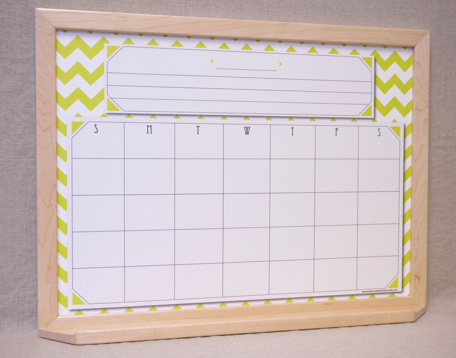 Framed Whiteboard Calendar Chartreuse/White Chevron Framed
