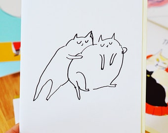 Main Squeeze Cat Card by The Dancing Cat - Love Card - Cat Hug - Friendship Card - Sympathy Card - Fat Cats