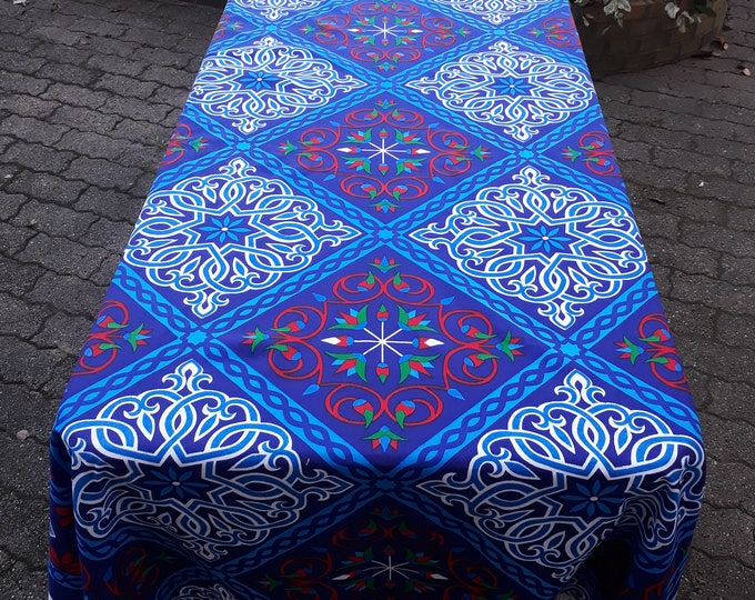 Egyptian tablecloth simple rectangle arabesque blue white ramadan borders lotus flower wall ethnic fabric outdoor table party