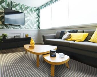 Olive Striped indoor/outdoor rug