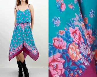 Vintage Floral Dress / Boho Dress / Bohemian Dress / Summer Dress / Sleeveless Dress / Beach Dress / QR2 / Blue Floral Dress / 70s Dress