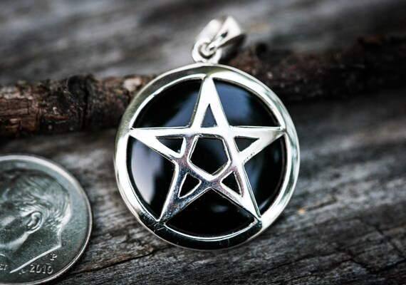 Onyx and sterling silver pentagram pendant wicca jewelry aloadofball Choice Image