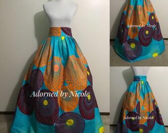 Paint Palette African Print Maxi Skirt