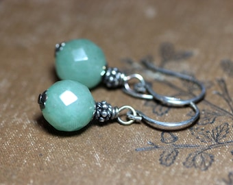 Aventurine Earrings Green Gemstone Earrings Sterling Silver Drop Earrings