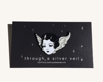 Through A Silver Veil - hard enamel pin by Amy Earles
