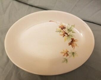 """vintage Leaf Autumn  serving platter/ plate 9 3/4"""" oval"""