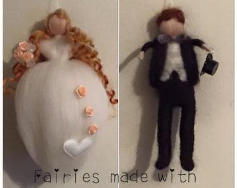 Needle Felt Bride and Groom. Waldorf Inspired