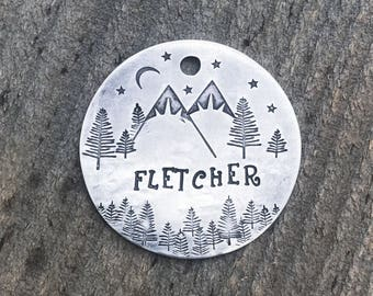 Pet ID Tag, Dog Tag, Dog Tags for Dogs, Dog Tags, Snow Capped Starry Night Tag, Mountain Dog Tag, Trees Dog Tag, Personalized Dog Tag