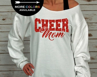Cheer Mom sweatshirt Off Shoulder Raw Edge GLITTER, cheerleading, cheerleader cheer shirts, cheer mom shirt, cheer shirt, Plus Sizes