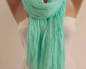 NEW Mint Crinkle Cotton Scarf Spring Scarf Summer Scarf Solid Color Scarf Fashion Women Accessories
