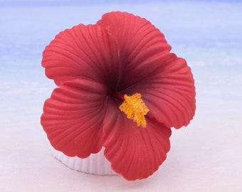 Hibiscus Hair Clip, 2 3/4 Inch,  Hair  Flower, Beach Wedding, Hibiscus, Orange Red