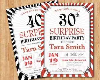 Shhh its a surprise any age surprise birthday invitation 30th birthday invitation 30th 40th 50th 60th any age adult birthday invitation surprise filmwisefo Images