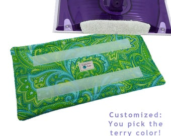1+ Reusable Swiffer Wet Jet Pads, PAISLEY GREEN, EcoSwift Pads, Washable Swiffer pad, Terry Cloth Pads, Hook Side attaches to WetJet pads