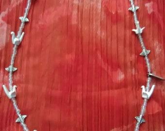Boho necklace, Silver plate necklace