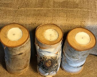 Set of Three Real Birch Tree Log Candles