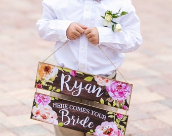 Here comes the bride sign, Last Chance to Run Sign, wedding decor, pageboy or flower girl sign, Photo Prop, ring bearer sign