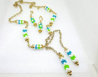 Sarah Coventry Carousel 1968   Clip Earrings and Lariat  Necklace Summer  Colors