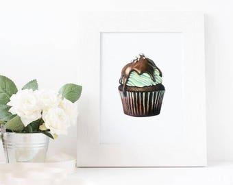 Mint Chocolate Cupcake Drawing Print - Wall Art - Food Art 5x7