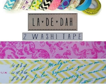 "Set of 2 rolls of washi tape 5 ""La De Dah"" decor scrapbooking (ref.110) *."