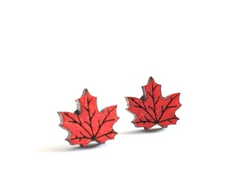 Maple Leaf Earrings, Canada Day Earrings, Canadian Flag, Canadian Maple Leaf Studs, Canadian Flag Earrings, Tiny Stud Earrings, Laser Cut
