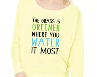 The Grass Is Greener- Flowy Off Shoulder T-shirt by Bella