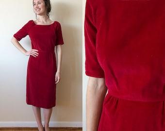 Nelly Don 1950s Red Velvet Dress