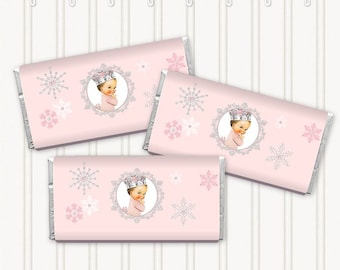 Pink Silver Winter Snowflakes Wonderland  | Candy Bar Wrappers Full Size | Light Vintage Baby Girl | Digital Instant Download